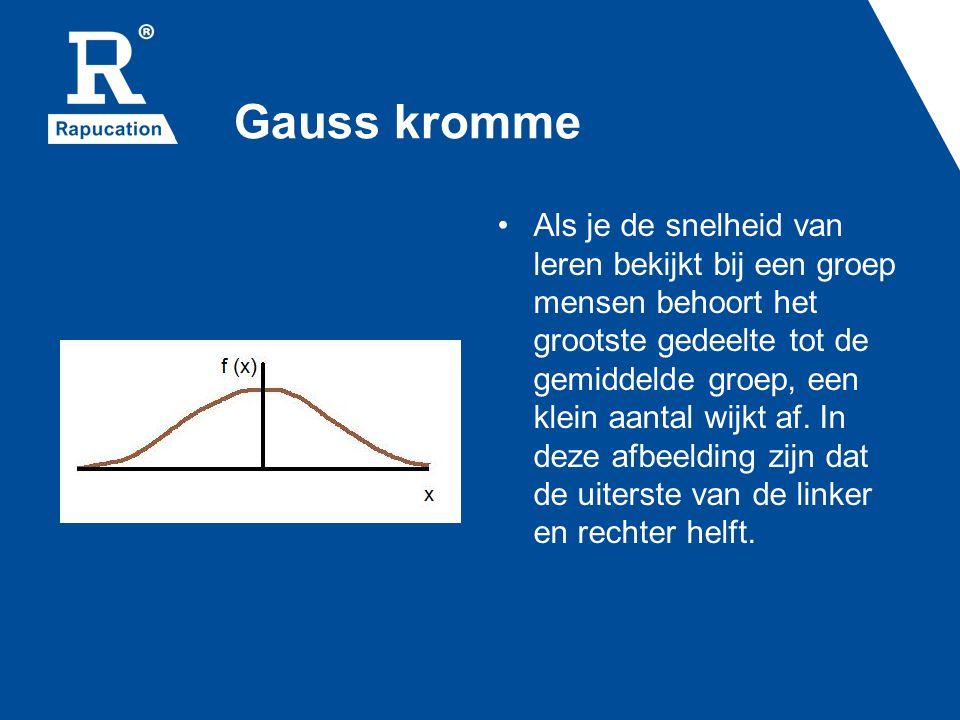 Gauss kromme Als je de snelheid van leren bekijkt bij een groep mensen behoort het grootste gedeelte tot de gemiddelde groep, een klein aantal wijkt af.