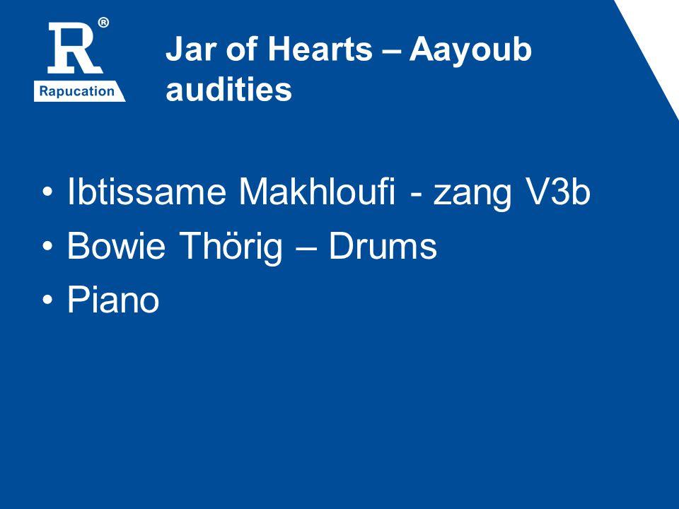 Jar of Hearts – Aayoub audities Ibtissame Makhloufi - zang V3b Bowie Thörig – Drums Piano
