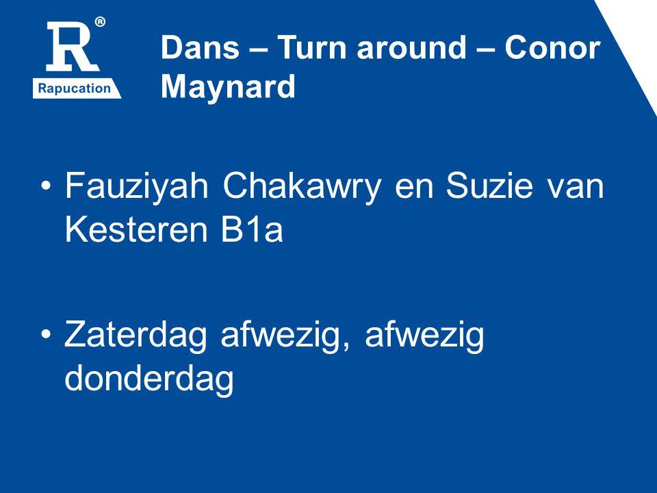Dans – Turn around – Conor Maynard Fauziyah Chakawry en Suzie van Kesteren B1a Zaterdag afwezig, afwezig donderdag