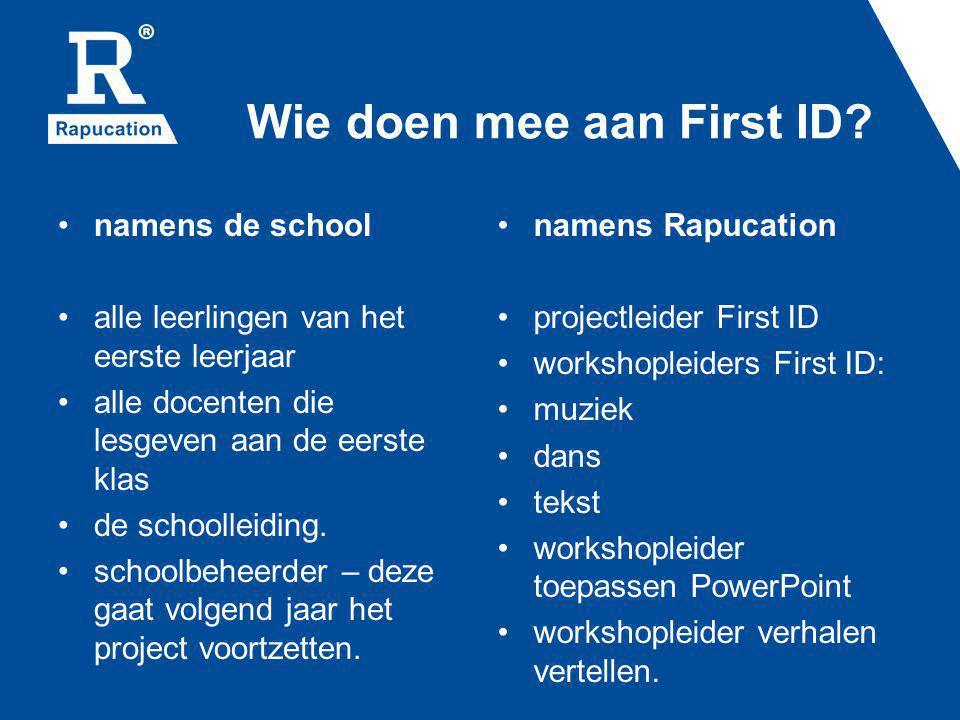 Wie doen mee aan First ID? namens de school alle leerlingen van het eerste leerjaar alle docenten die lesgeven aan de eerste klas de schoolleiding. sc