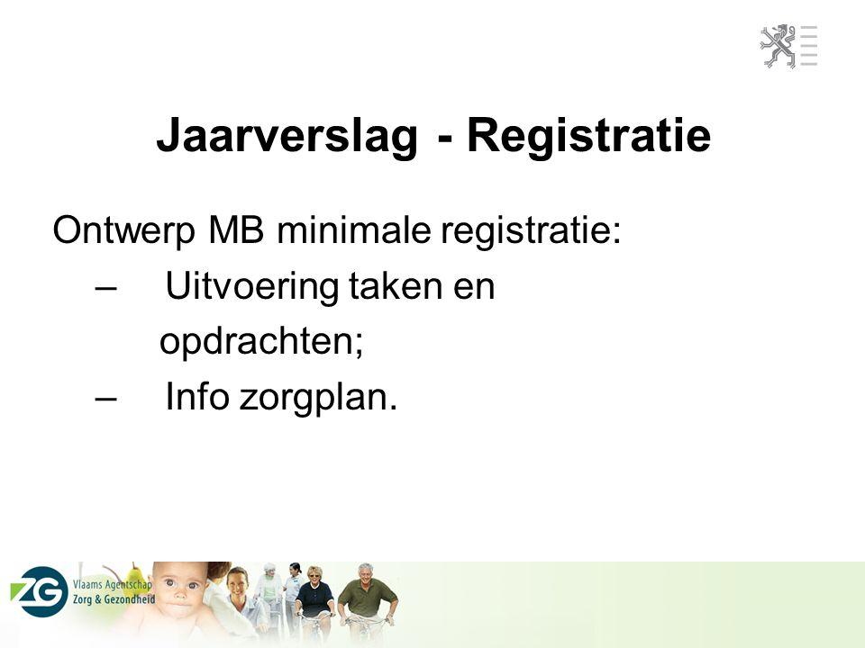 Jaarverslag - Registratie Ontwerp MB minimale registratie: – Uitvoering taken en opdrachten; – Info zorgplan.