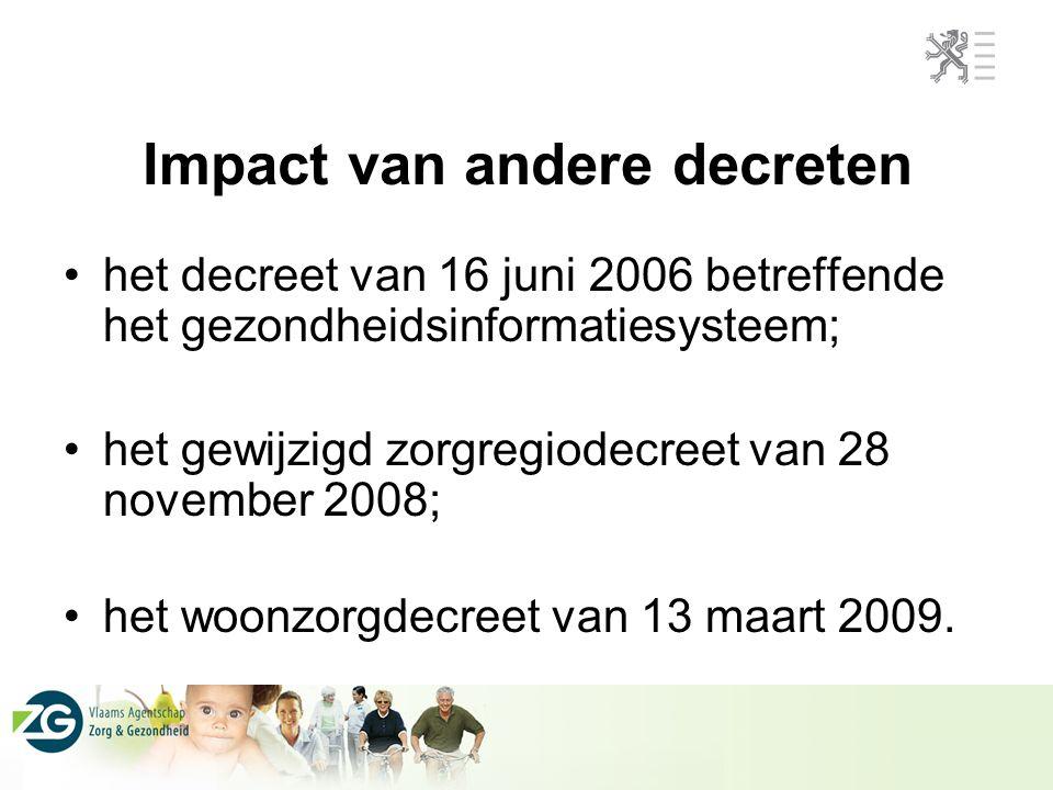 Impact van andere decreten het decreet van 16 juni 2006 betreffende het gezondheidsinformatiesysteem; het gewijzigd zorgregiodecreet van 28 november 2008; het woonzorgdecreet van 13 maart 2009.