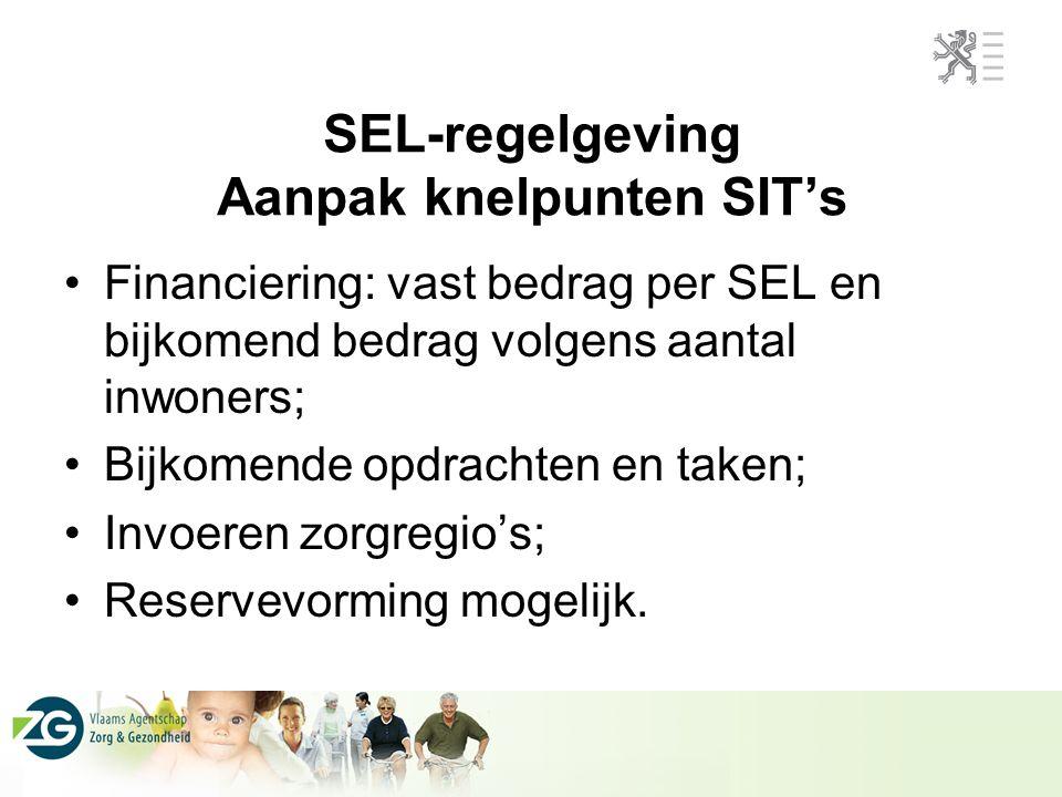 SEL-regelgeving Aanpak knelpunten SIT's Financiering: vast bedrag per SEL en bijkomend bedrag volgens aantal inwoners; Bijkomende opdrachten en taken; Invoeren zorgregio's; Reservevorming mogelijk.