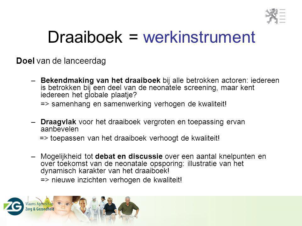 Draaiboek = werkinstrument Doel van de lanceerdag –Bekendmaking van het draaiboek bij alle betrokken actoren: iedereen is betrokken bij een deel van d