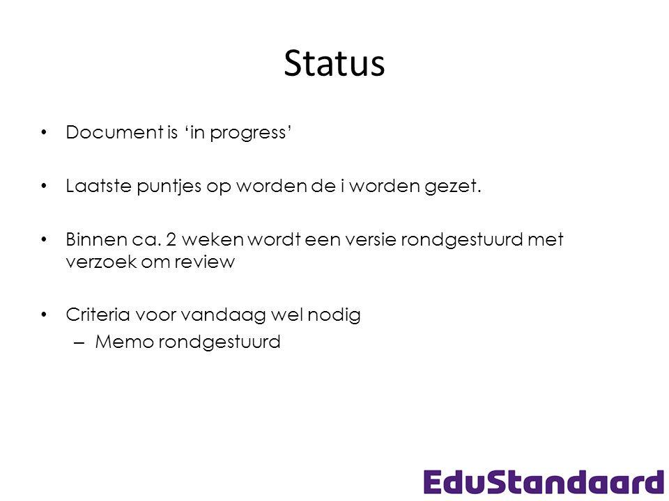 Status Document is 'in progress' Laatste puntjes op worden de i worden gezet.