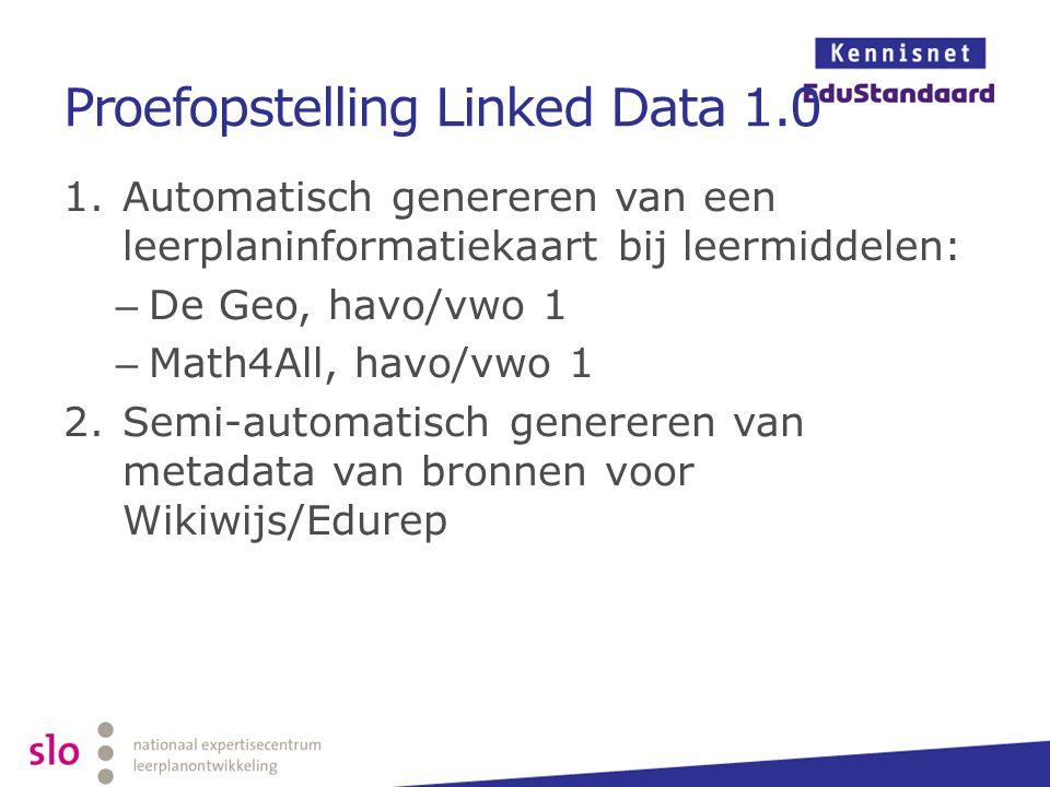 Proefopstelling Linked Data 1.0 1.Automatisch genereren van een leerplaninformatiekaart bij leermiddelen: – De Geo, havo/vwo 1 – Math4All, havo/vwo 1