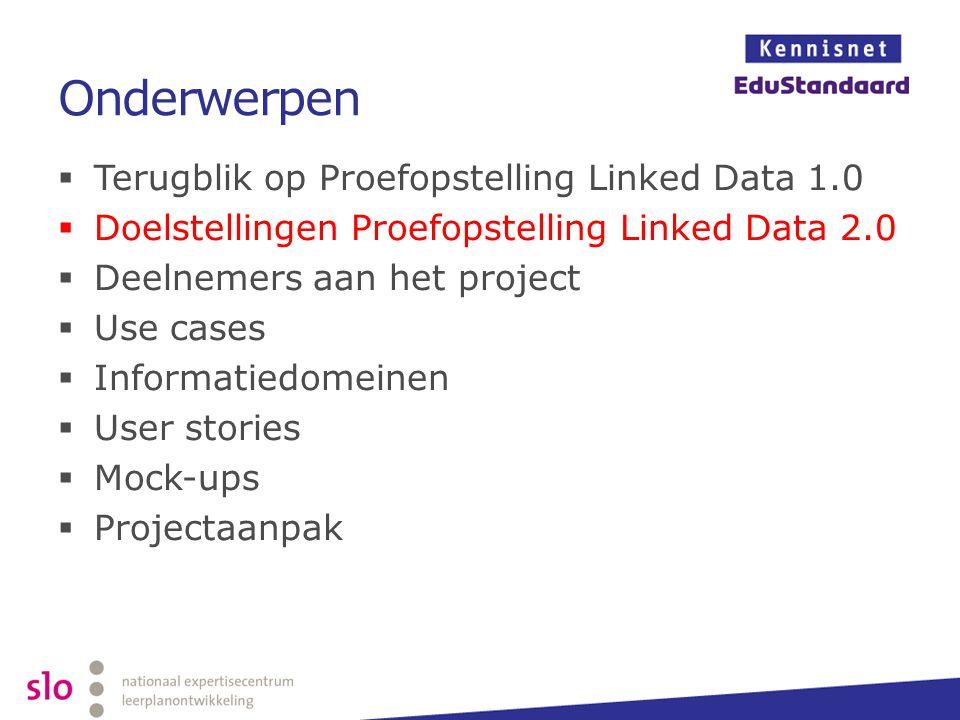 Onderwerpen  Terugblik op Proefopstelling Linked Data 1.0  Doelstellingen Proefopstelling Linked Data 2.0  Deelnemers aan het project  Use cases 