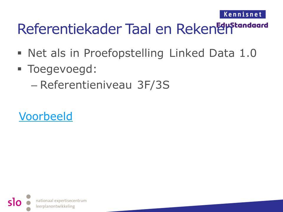 Referentiekader Taal en Rekenen  Net als in Proefopstelling Linked Data 1.0  Toegevoegd: – Referentieniveau 3F/3S Voorbeeld