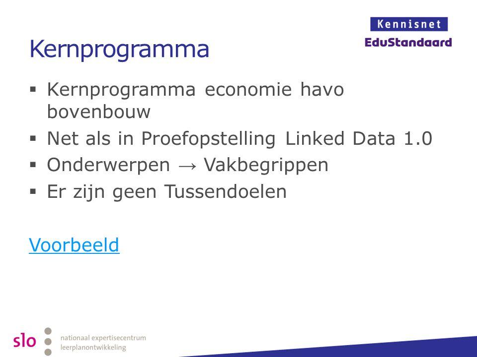 Kernprogramma  Kernprogramma economie havo bovenbouw  Net als in Proefopstelling Linked Data 1.0  Onderwerpen → Vakbegrippen  Er zijn geen Tussend