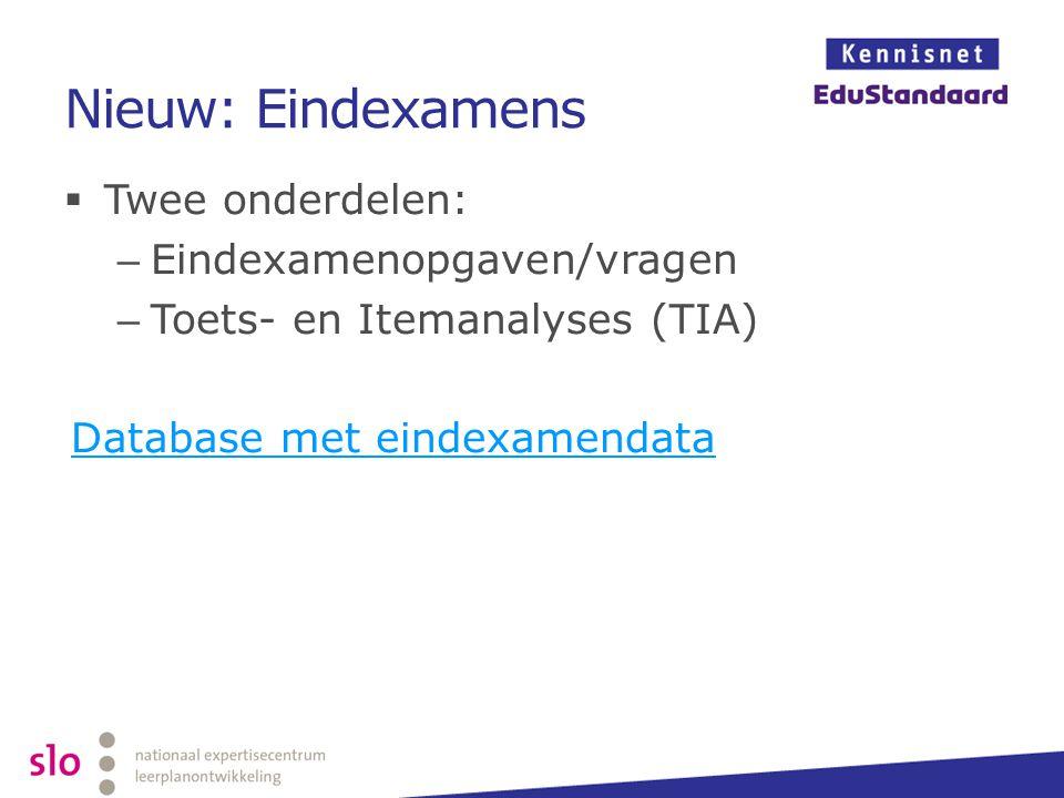 Nieuw: Eindexamens  Twee onderdelen: – Eindexamenopgaven/vragen – Toets- en Itemanalyses (TIA) Database met eindexamendata