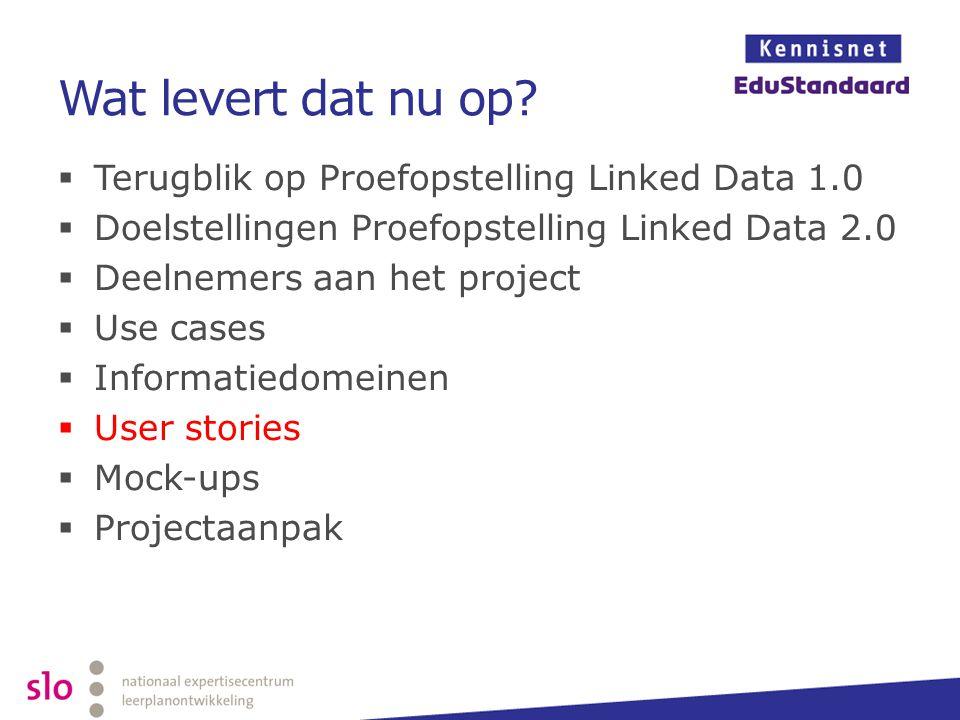 Wat levert dat nu op?  Terugblik op Proefopstelling Linked Data 1.0  Doelstellingen Proefopstelling Linked Data 2.0  Deelnemers aan het project  U