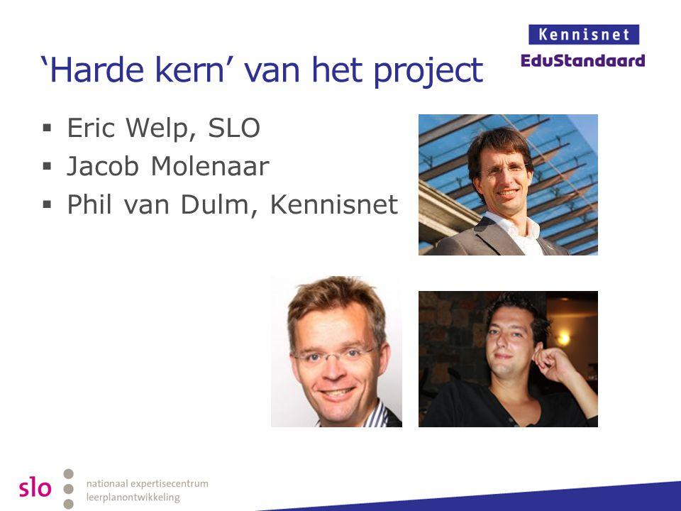 'Harde kern' van het project  Eric Welp, SLO  Jacob Molenaar  Phil van Dulm, Kennisnet