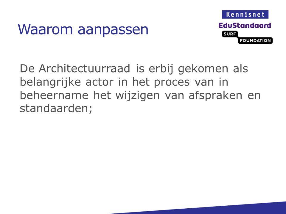 Waarom aanpassen De Architectuurraad is erbij gekomen als belangrijke actor in het proces van in beheername het wijzigen van afspraken en standaarden;