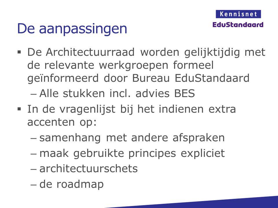 De aanpassingen  De Architectuurraad worden gelijktijdig met de relevante werkgroepen formeel geïnformeerd door Bureau EduStandaard – Alle stukken incl.
