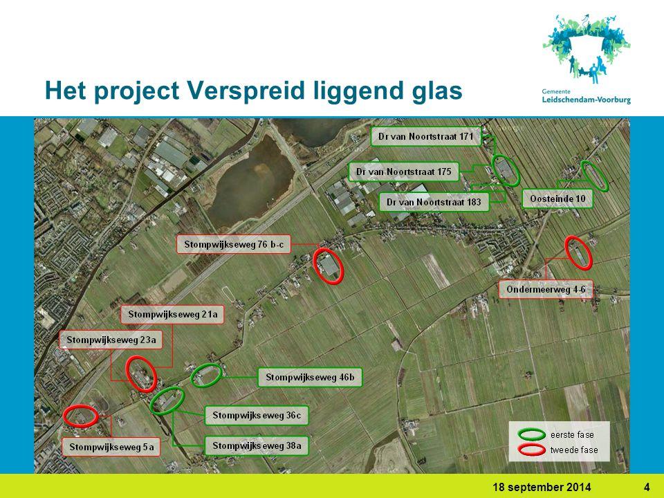 418 september 2014 Het project Verspreid liggend glas