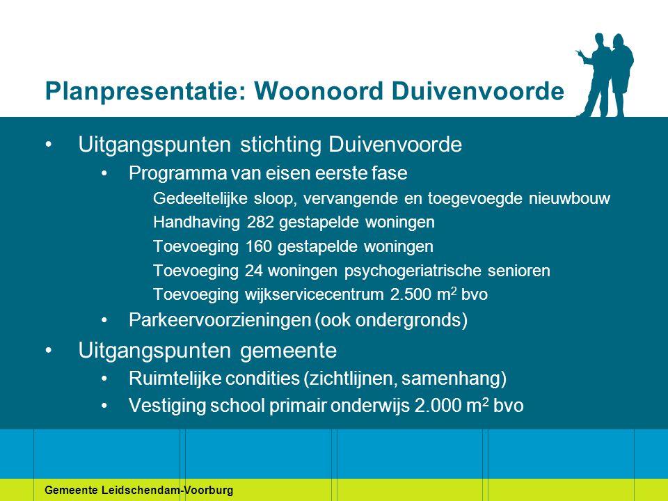 Gemeente Leidschendam-Voorburg Planpresentatie: Woonoord Duivenvoorde Uitgangspunten stichting Duivenvoorde Programma van eisen eerste fase Gedeelteli