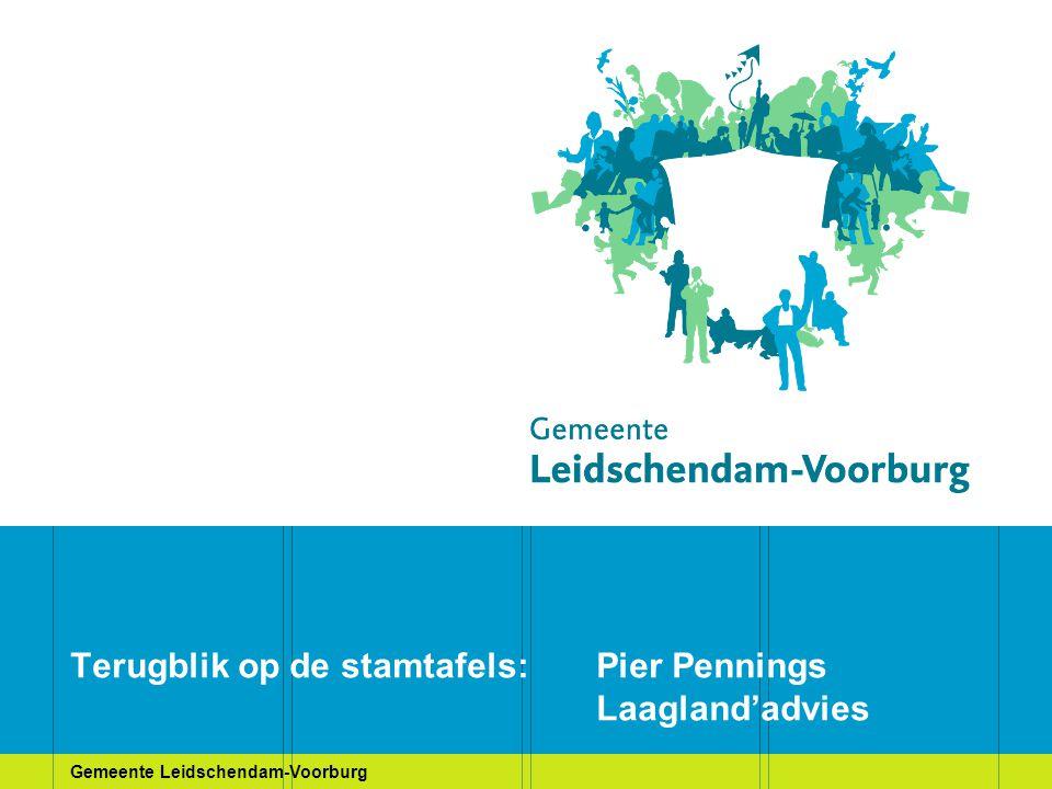 Gemeente Leidschendam-Voorburg Terugblik op de stamtafels 17 december 2008 was een beetje wennen, maar het werd: Stamtafel 1: MCH Antoniushove Stamtafel 2: TIO-locatie Stamtafel 3: Duivenvoorde Stamtafel 4: het hele gebied Individuele reacties per brief