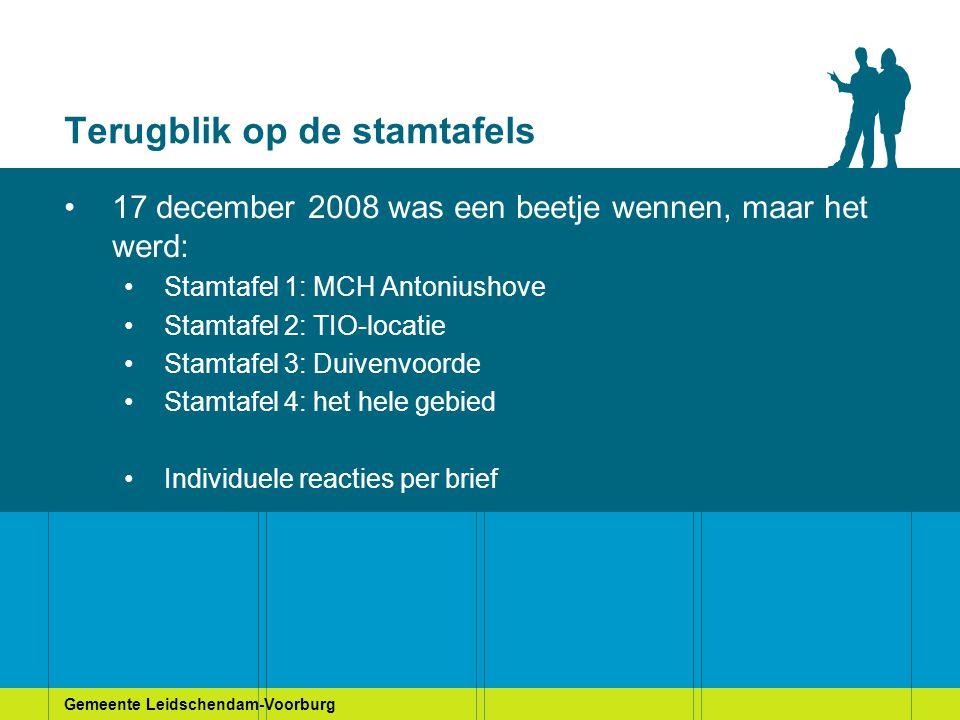 Gemeente Leidschendam-Voorburg Terugblik op de stamtafels 17 december 2008 was een beetje wennen, maar het werd: Stamtafel 1: MCH Antoniushove Stamtaf