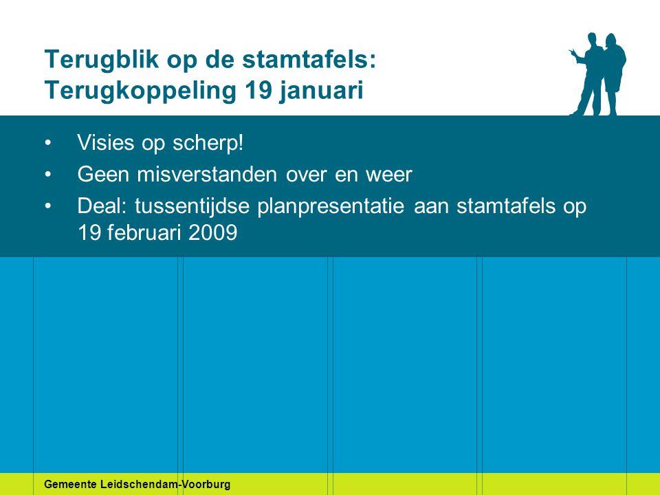 Gemeente Leidschendam-Voorburg Terugblik op de stamtafels: Terugkoppeling 19 januari Visies op scherp! Geen misverstanden over en weer Deal: tussentij