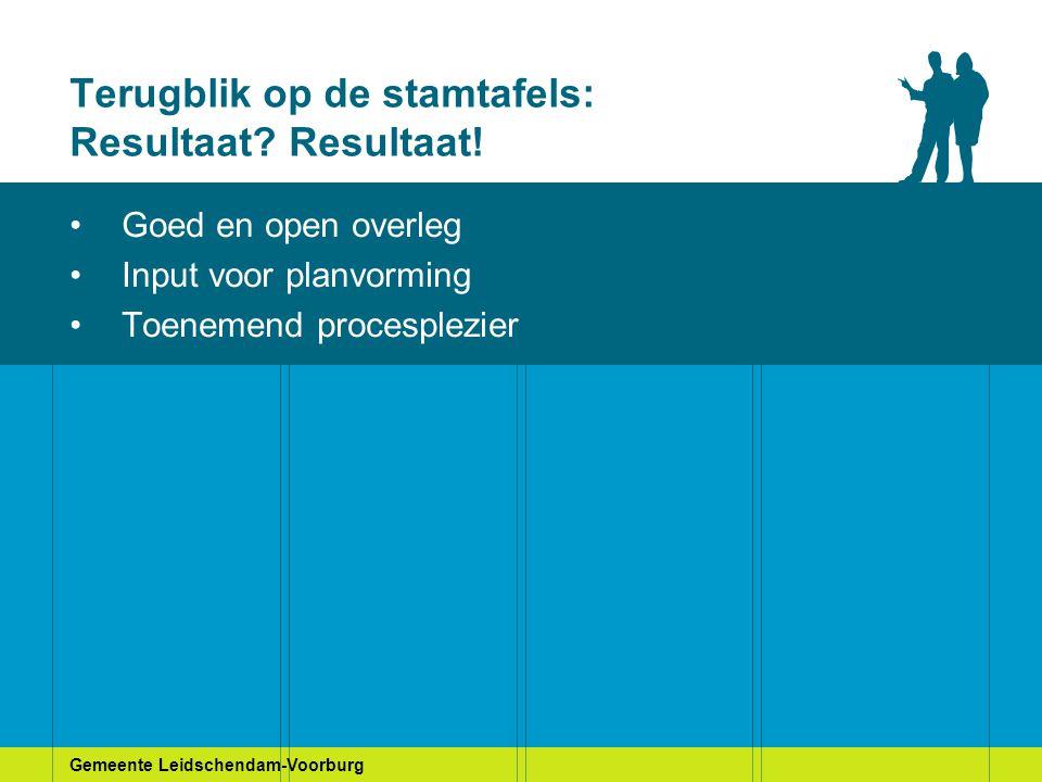 Gemeente Leidschendam-Voorburg Terugblik op de stamtafels: Resultaat? Resultaat! Goed en open overleg Input voor planvorming Toenemend procesplezier