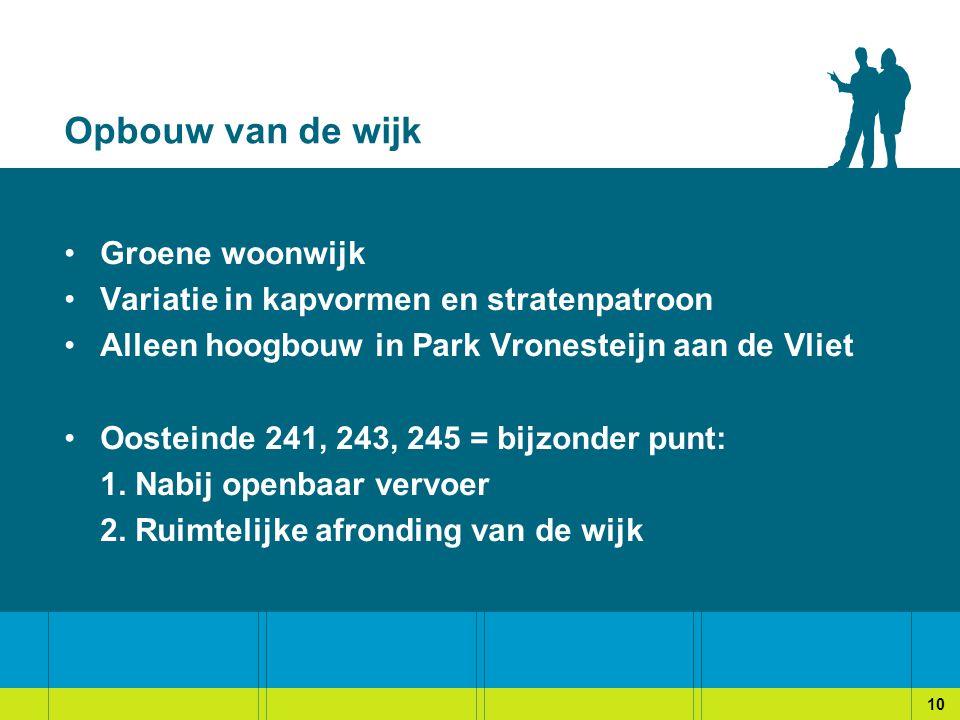 Opbouw van de wijk Groene woonwijk Variatie in kapvormen en stratenpatroon Alleen hoogbouw in Park Vronesteijn aan de Vliet Oosteinde 241, 243, 245 = bijzonder punt: 1.