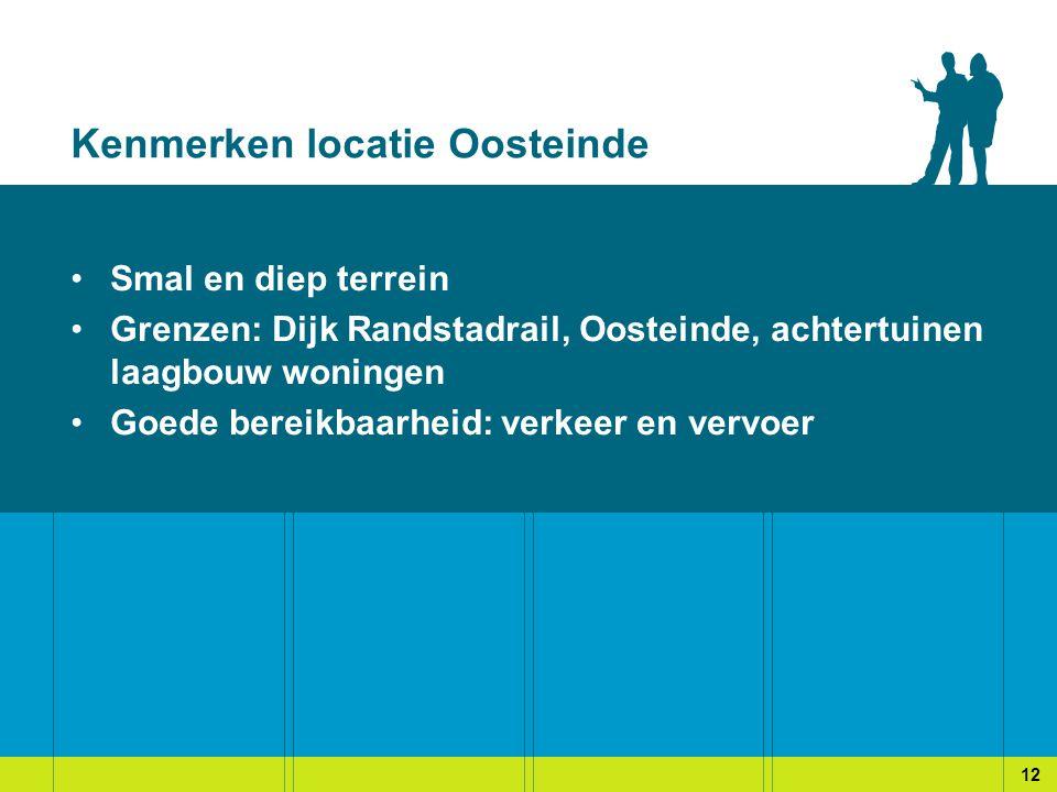 Kenmerken locatie Oosteinde Smal en diep terrein Grenzen: Dijk Randstadrail, Oosteinde, achtertuinen laagbouw woningen Goede bereikbaarheid: verkeer en vervoer 12