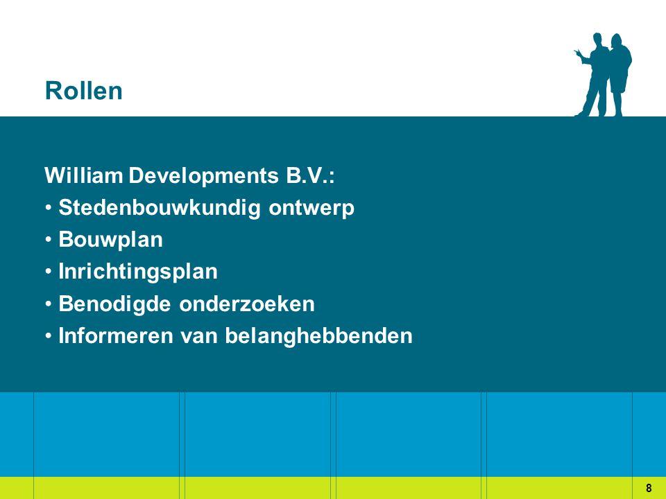 Rollen William Developments B.V.: Stedenbouwkundig ontwerp Bouwplan Inrichtingsplan Benodigde onderzoeken Informeren van belanghebbenden 8