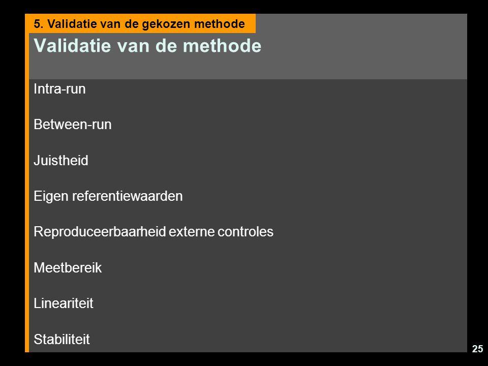 25 Validatie van de methode Intra-run Between-run Juistheid Eigen referentiewaarden Reproduceerbaarheid externe controles Meetbereik Lineariteit Stabiliteit 5.