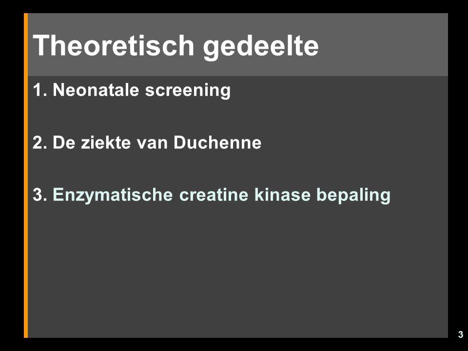 3 Theoretisch gedeelte 1. Neonatale screening 2. De ziekte van Duchenne 3. Enzymatische creatine kinase bepaling