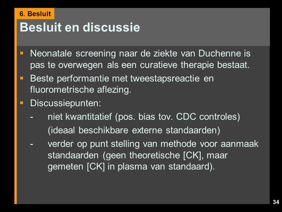 34 Besluit en discussie  Neonatale screening naar de ziekte van Duchenne is pas te overwegen als een curatieve therapie bestaat.  Beste performantie
