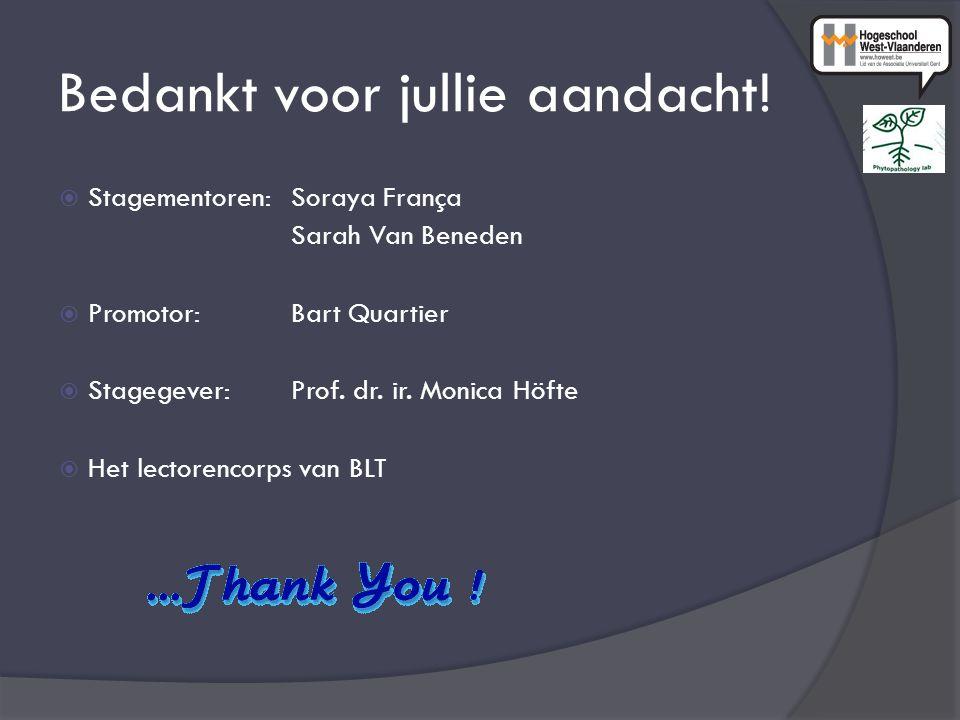 Bedankt voor jullie aandacht!  Stagementoren: Soraya França Sarah Van Beneden  Promotor: Bart Quartier  Stagegever:Prof. dr. ir. Monica Höfte  Het
