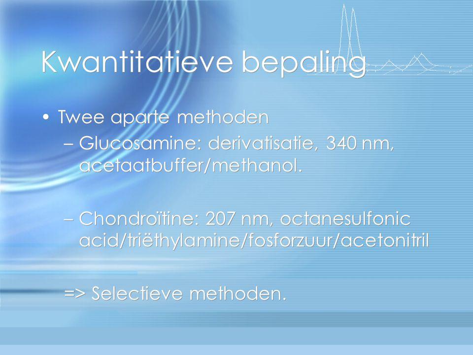 Kwantitatieve bepaling Twee aparte methoden –Glucosamine: derivatisatie, 340 nm, acetaatbuffer/methanol. –Chondroïtine: 207 nm, octanesulfonic acid/tr