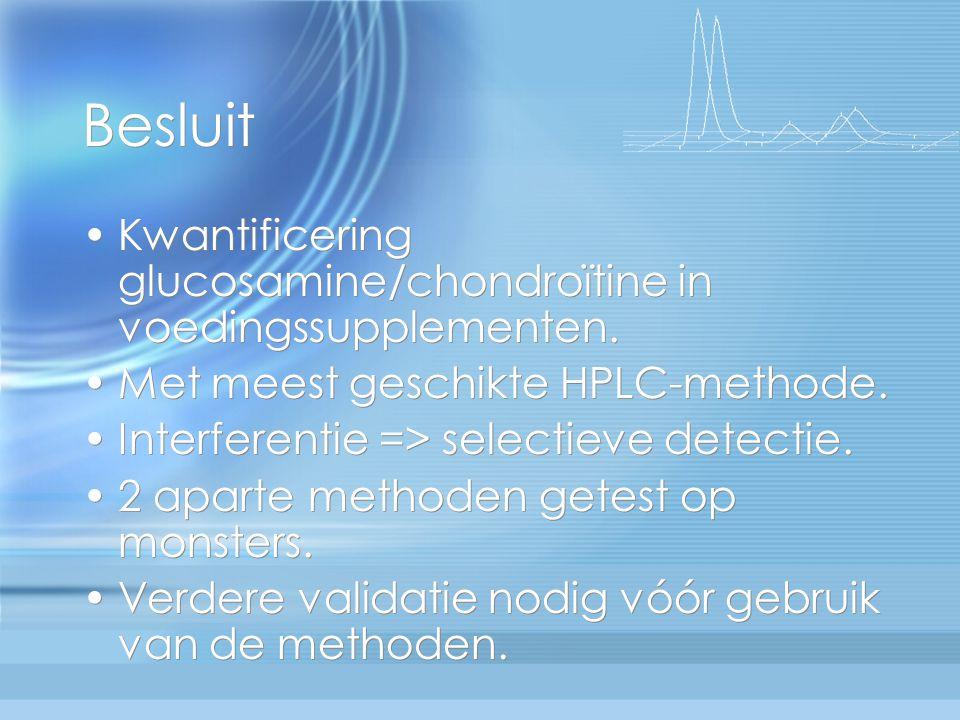 Besluit Kwantificering glucosamine/chondroïtine in voedingssupplementen. Met meest geschikte HPLC-methode. Interferentie => selectieve detectie. 2 apa