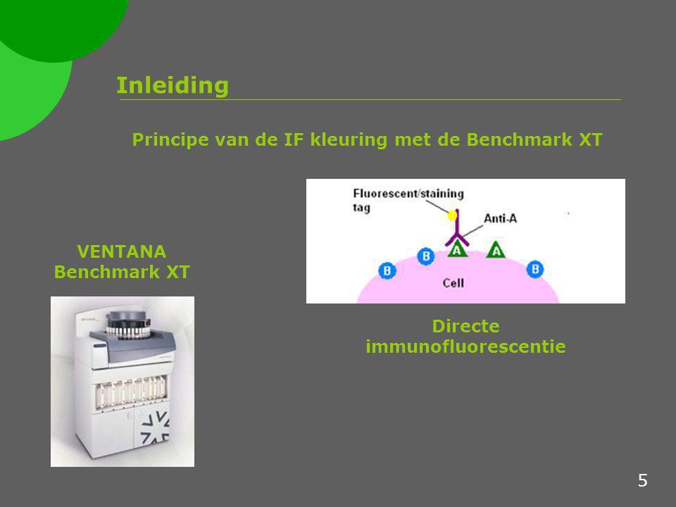 Inleiding Principe van de IF kleuring met de Benchmark XT Directe immunofluorescentie VENTANA Benchmark XT 5