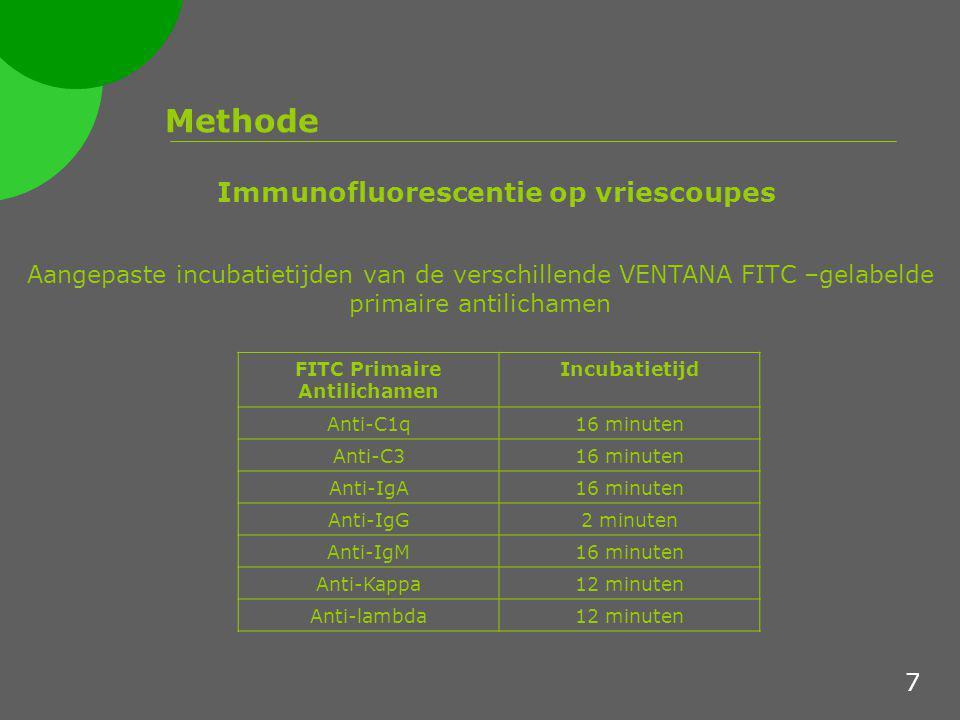 Methode  Geautomatiseerde FITC kleuring met VENTANA Benchmark XT methode 1  Geautomatiseerde FITC kleuring met VENTANA Benchmark XT methode 2 Immunofluorescentie op paraffinecoupes  Zelfde procedure als voor de geautomatiseerde IF kleuring op vriescoupes  Met als verschil formolfixatie en paraffine-inbedding  Zelfde procedure als voor de manuele IF kleuring op paraffinecoupes  Met als verschil de IF kleuring gebeurt op de Benchmark XT 8