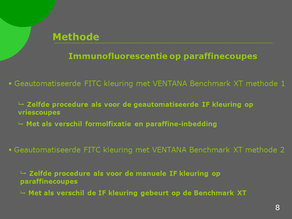 Methode  Geautomatiseerde FITC kleuring met VENTANA Benchmark XT methode 1  Geautomatiseerde FITC kleuring met VENTANA Benchmark XT methode 2 Immuno