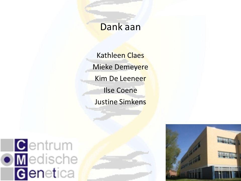 Dank aan Kathleen Claes Mieke Demeyere Kim De Leeneer Ilse Coene Justine Simkens