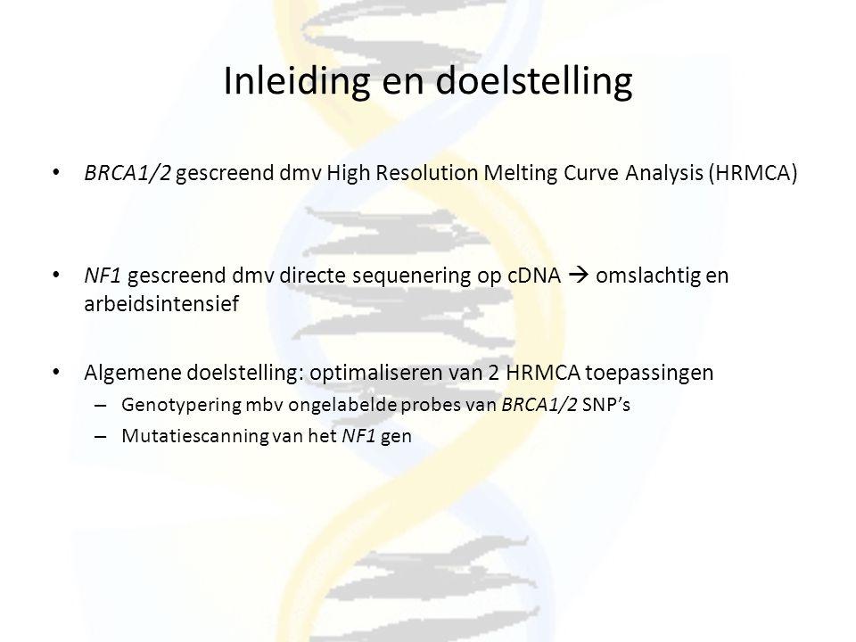 Inleiding en doelstelling BRCA1/2 gescreend dmv High Resolution Melting Curve Analysis (HRMCA) NF1 gescreend dmv directe sequenering op cDNA  omslach