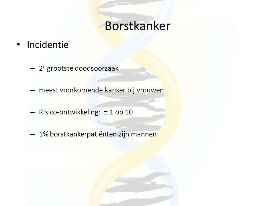 Borstkanker Genetische gevoeligheid – 80% sporadische kanker – 5-10% genetische oorzaak – Onderscheid erfelijke en familiale borstkanker Erfelijk – 5-8% alle borstkankers – Autosomaal dominant – 80% families een BRCA-mutatie – Verhoogd risico op ovariumkanker Familiaal – 15% alle borstkankers – 15-30% families een BRCA-mutatie – verhoogd risico op ovariumkanker