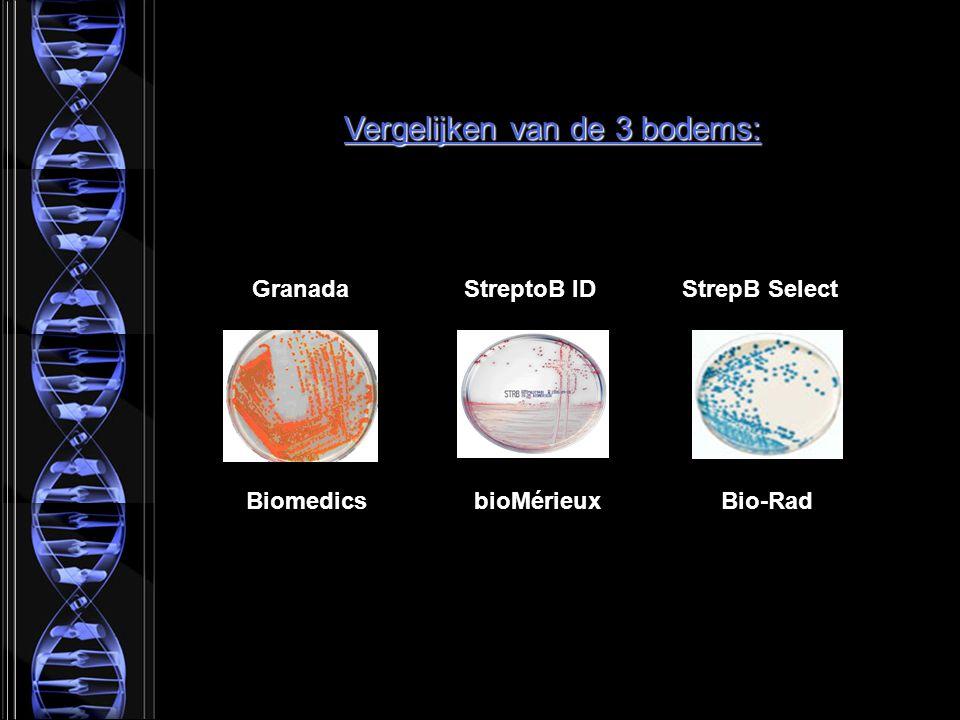 Granada StreptoB ID StrepB Select Biomedics bioMérieux Bio-Rad Vergelijken van de 3 bodems: