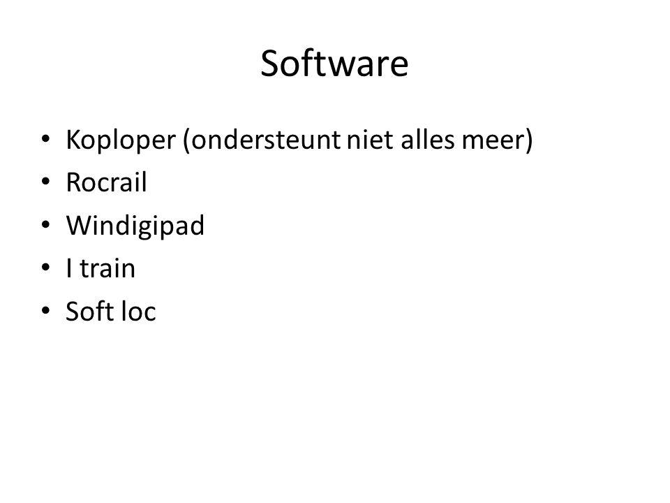 Software Koploper (ondersteunt niet alles meer) Rocrail Windigipad I train Soft loc