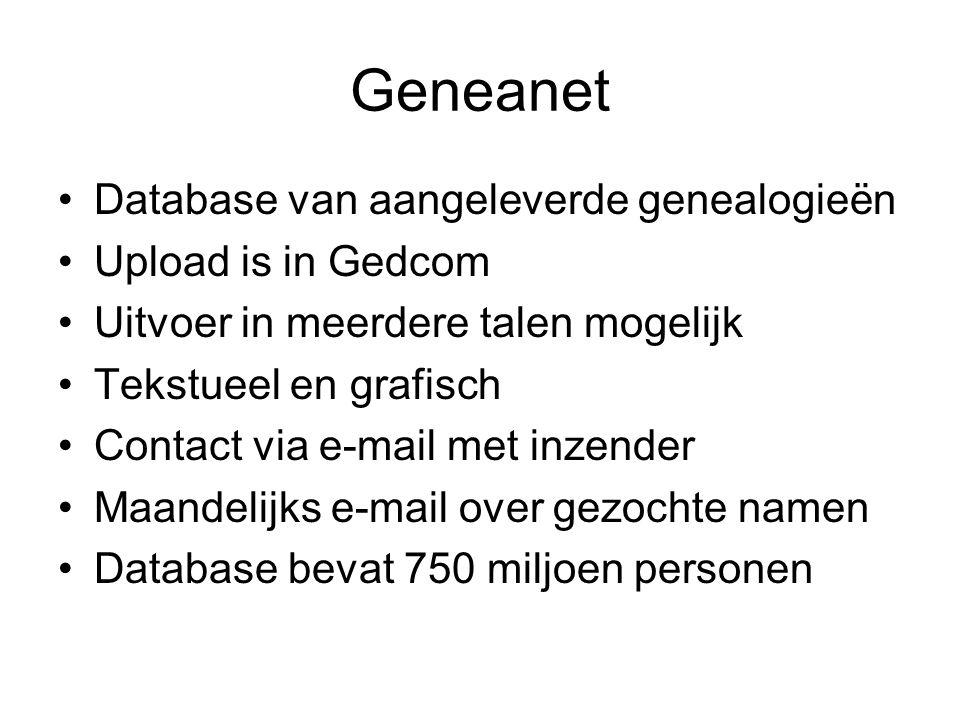 Geneanet Database van aangeleverde genealogieën Upload is in Gedcom Uitvoer in meerdere talen mogelijk Tekstueel en grafisch Contact via e-mail met in