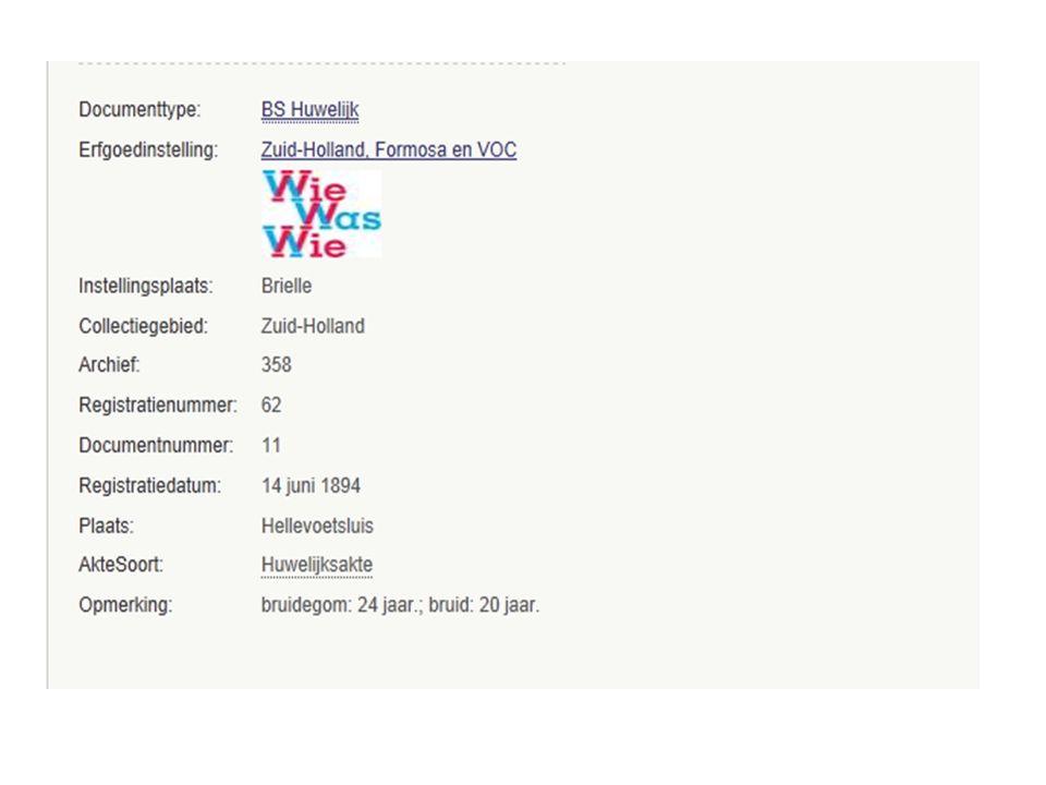 Digitale stamboom Een aantal Nederlandse gemeenten zoals: Rotterdam, Den Haag en Delft Een aantal regionale archieven zoals: Noord-Hollands archief, Archief Eemland en Leiden