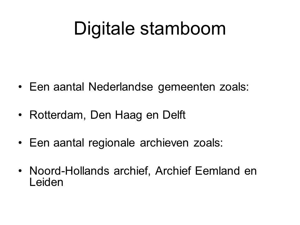Digitale stamboom Een aantal Nederlandse gemeenten zoals: Rotterdam, Den Haag en Delft Een aantal regionale archieven zoals: Noord-Hollands archief, A