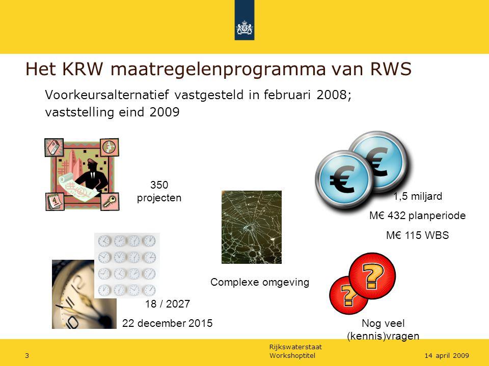 Rijkswaterstaat Workshoptitel314 april 2009 Het KRW maatregelenprogramma van RWS Voorkeursalternatief vastgesteld in februari 2008; vaststelling eind