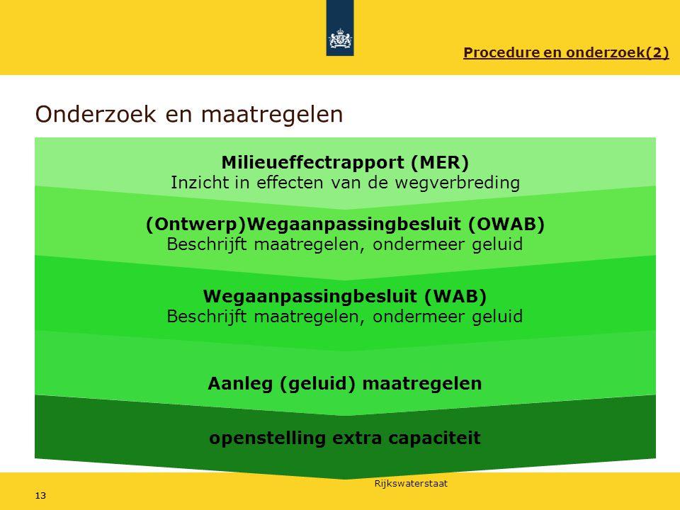 Rijkswaterstaat 13 Onderzoek en maatregelen Milieueffectrapport (MER) Inzicht in effecten van de wegverbreding (Ontwerp)Wegaanpassingbesluit (OWAB) Be