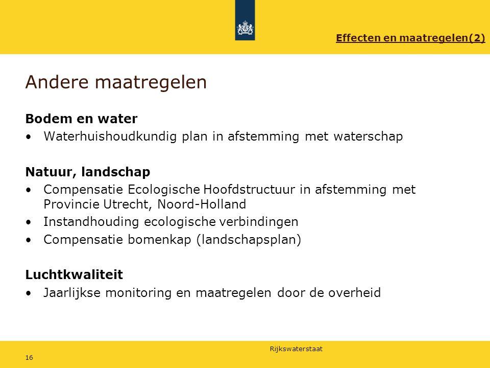 Rijkswaterstaat 16 Andere maatregelen Bodem en water Waterhuishoudkundig plan in afstemming met waterschap Natuur, landschap Compensatie Ecologische H