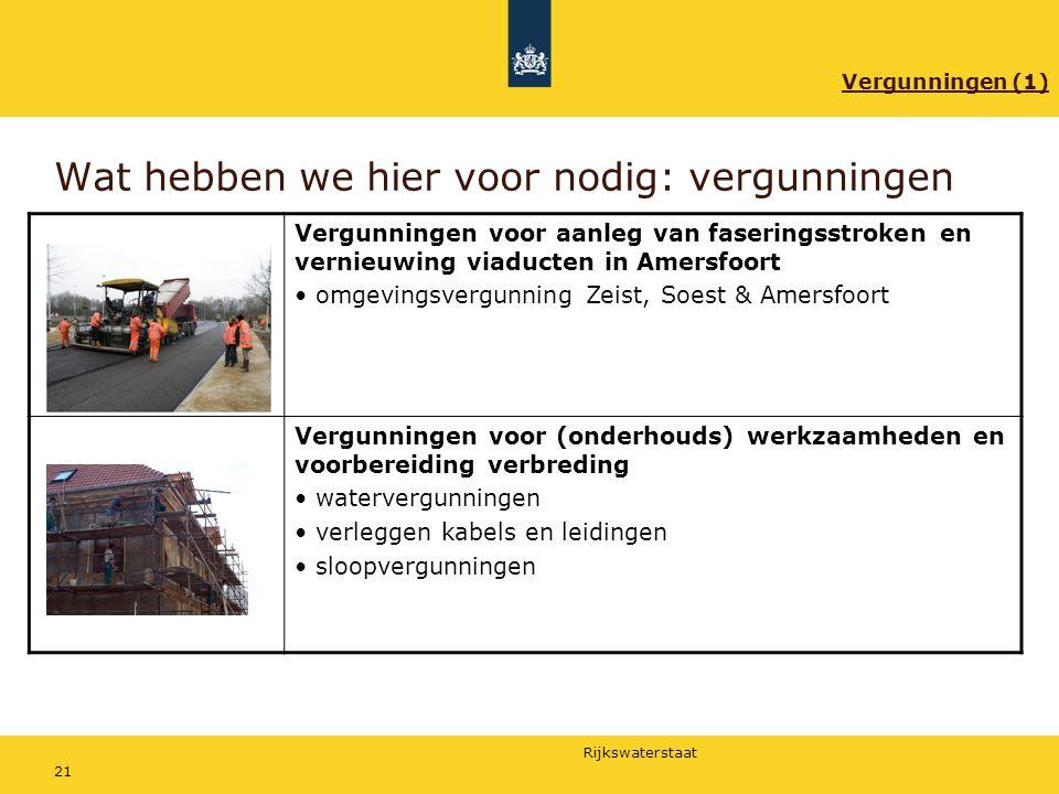 Rijkswaterstaat 21 Wat hebben we hier voor nodig: vergunningen Vergunningen voor aanleg van faseringsstroken en vernieuwing viaducten in Amersfoort om