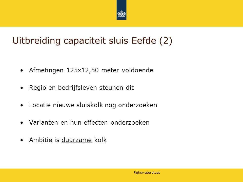 Rijkswaterstaat Uitbreiding capaciteit sluis Eefde (2) Afmetingen 125x12,50 meter voldoende Regio en bedrijfsleven steunen dit Locatie nieuwe sluiskol