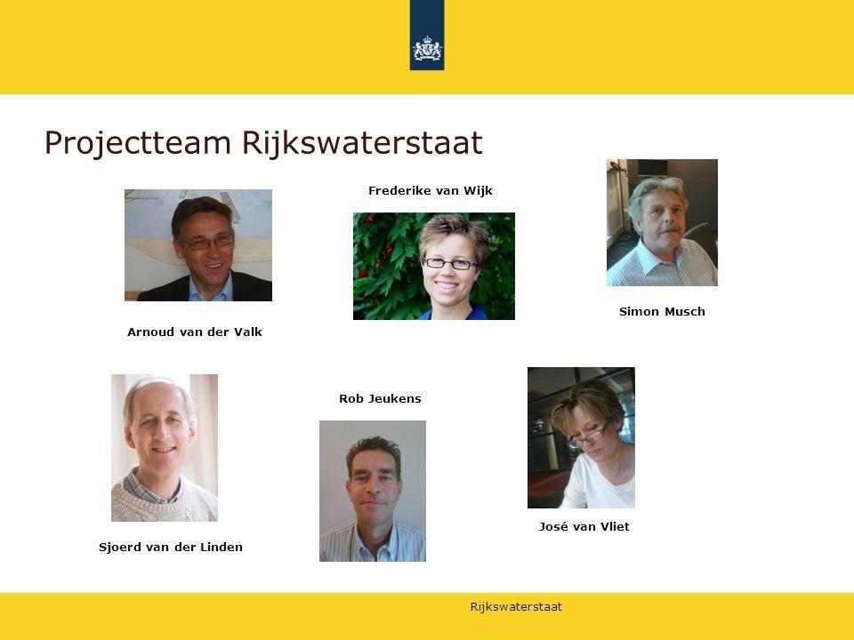 Rijkswaterstaat Projectteam Rijkswaterstaat Arnoud van der Valk Frederike van Wijk Simon Musch Sjoerd van der Linden Rob Jeukens José van Vliet